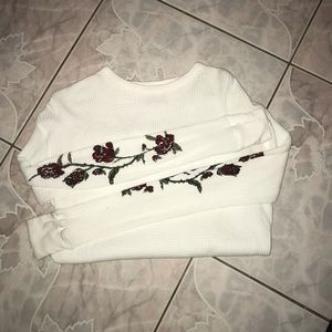 Urban Outfitters White Rose Sleeve Thermal